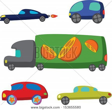 Doodle transport car icons, illustration picture for your design