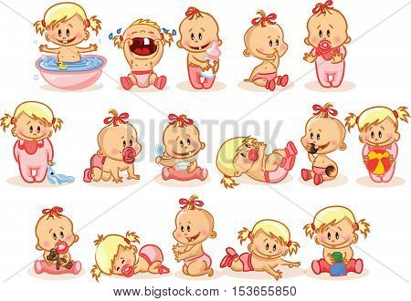 Vector illustration of baby girls,for your design