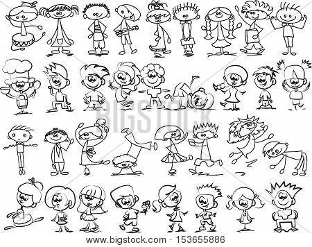 Cute happy cartoon doodle kids,illustration picture for your design