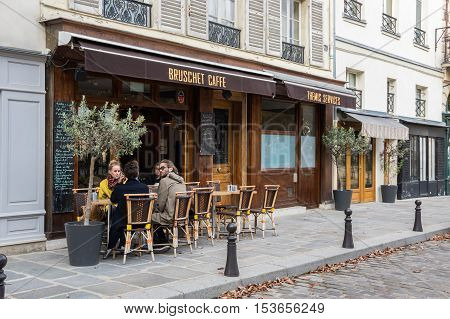 PARIS FRANCE - OCTOBER 11 2015: Street in the historical centre of Paris the capital and most visited city of France