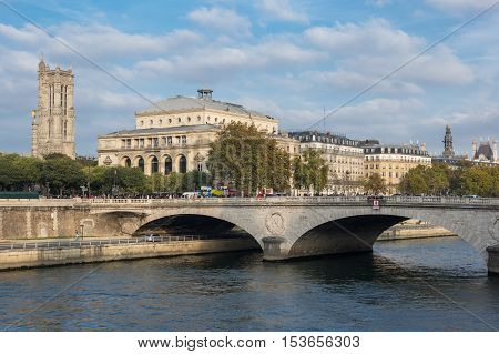 Pont au Change across the Seine river in the historical centre of Paris the capital and most visited city of France