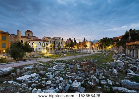 Ancient ruins in city of Athens, Greece.