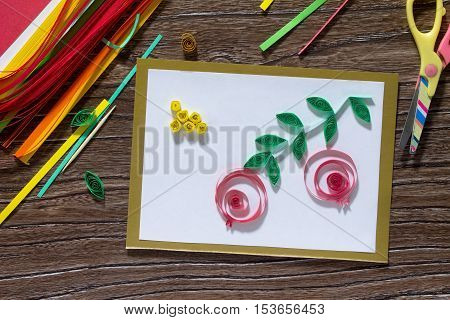 The Child Create Greeting Cards Origami Paper Honey And Garnet Tree Branch On A Wooden Table. Of The