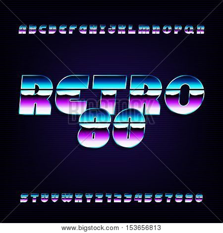 80's retro alphabet font. Metallic effect letters and numbers. Vector typeface for flyers, headlines, posters etc.