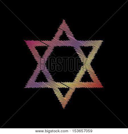 Shield Magen David Star. Symbol Of Israel. Coloful Chalk Effect On Black Backgound.