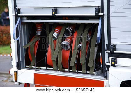 fireman truck water supply pressure control pump closeup