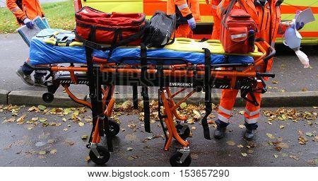emergency staff ambulance rescue stretcher trolleys equipment breathing mask doctors