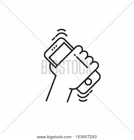 Conceptual modern icon of thin lines Smartphone in hand