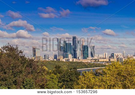 View on Moscow from the observation platform on the Sparrow hills Russia.