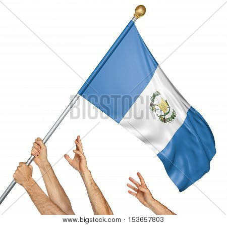 Team of peoples hands raising the Guatemala national flag, 3D rendering isolated on white background