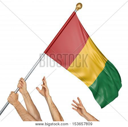 Team of peoples hands raising the Guinea national flag, 3D rendering isolated on white background