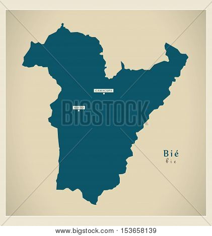 Modern Map - Bie AO Angola vector