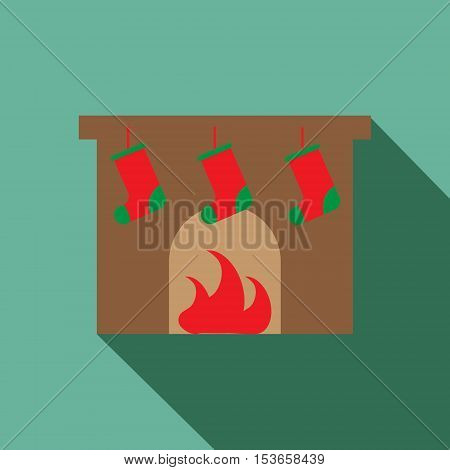 Fireplace vector icon. Christmas fireplace with stockings vector icon.
