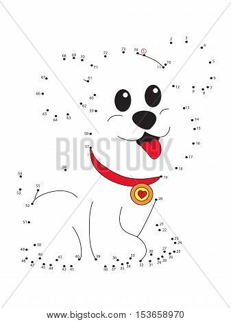Game for children : join the dots following the numbers - dog.