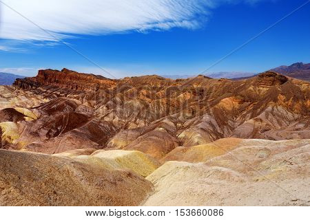 Famous Zabriskie Point In Death Valley National Park