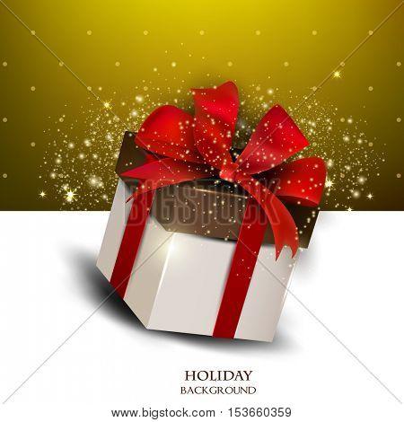 Elegant background with gift. Vector illustration