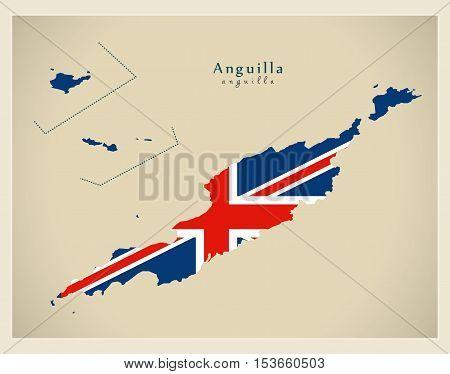 Modern Map - Anguilla flag colored AI vector