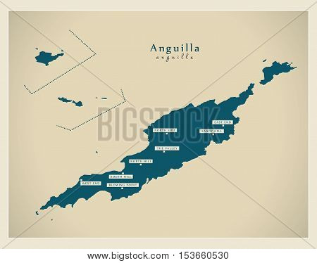 Modern Map - Anguilla with cities AI vector