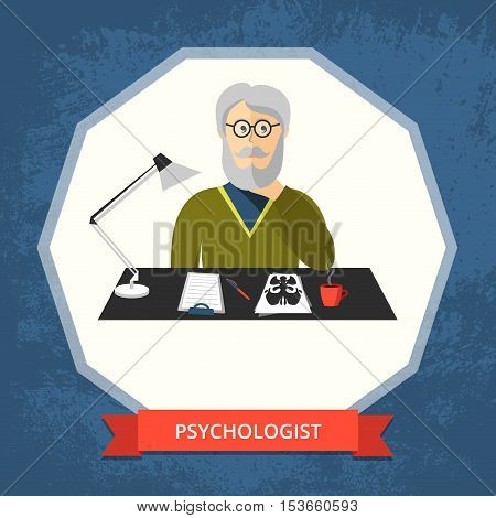 Vector image of a male psychologist with glasses and beard at his workspace.