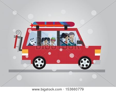 Family winter traveling. Travel by car. Flat design vector illustration