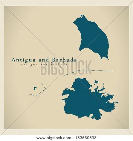 Modern Map - Antigua and Barbuda AG vector