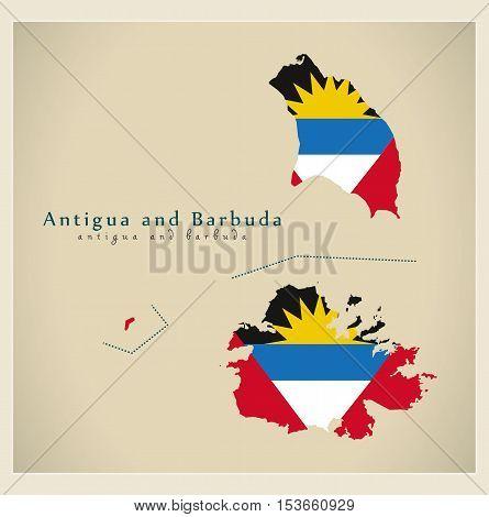 Modern Map - Antigua and Barbuda flag colored AG vector