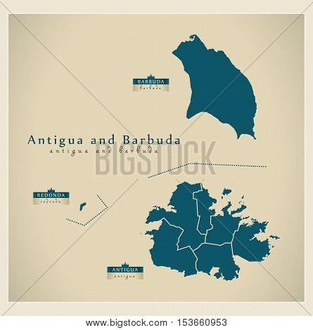 Modern Map - Antigua and Barbuda regions AG vector