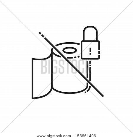 Toilet paper is not available icon. modern icon of thin lines roll of toilet paper isolated on white background