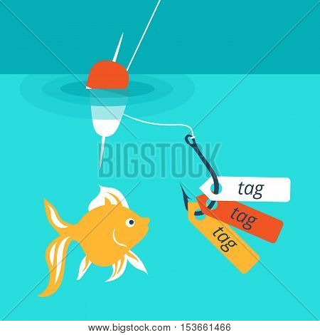 Vector illustration showing a catchy tag , internet advertising that attracts customers to website.
