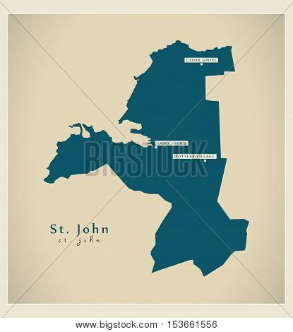 Modern Map - St. John AG Antigua and Barbuda vector