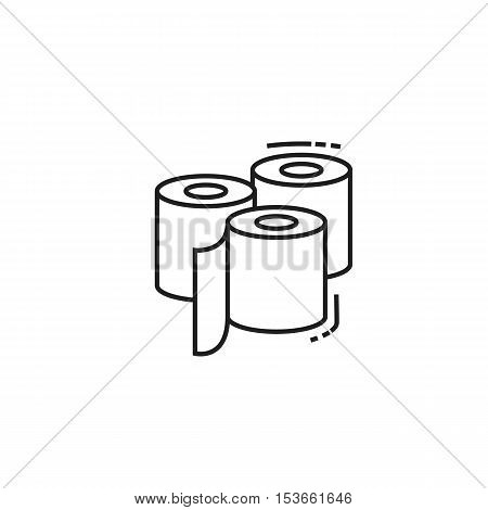 Three toilet paper rolls icon. modern icon of thin lines roll of toilet paper isolated on white background
