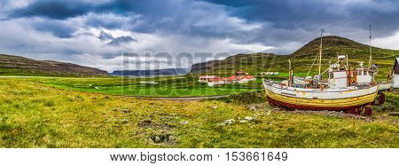 Panorama Of Coast With Shipwreck In Iceland