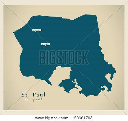 Modern Map - St. Paul AG Antigua and Barbuda vector