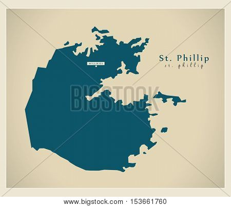 Modern Map - St. Phillip AG Antigua and Barbuda vector