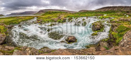 Panorama Of Mountain River Flowing Into The Lake In Iceland