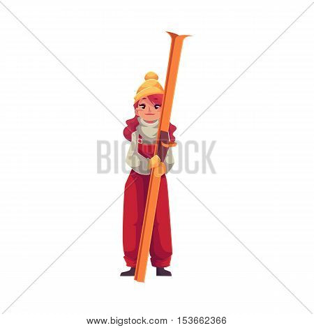 Adult red-haired beautiful girl standing with ski, cartoon vector illustration isolated on white background. Full height portrait of pretty girl skier, fun winter activity, outdoor leisure time