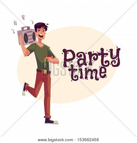 Young man dancing at the party with tape recorder on his shoulder and pizza in hand, cartoon vector illustration. Greeting card, poster, banner design for birthday party with a man popping party