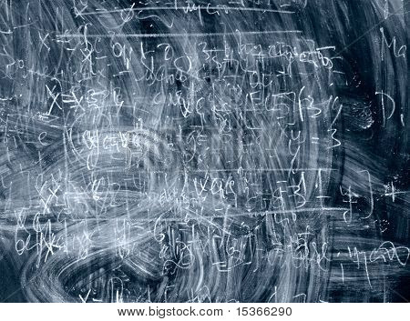 Dark blue blackboard with formulas.