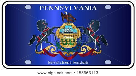 Pennsylvania license plate in the colors of the state flag with the flag icons over a white background