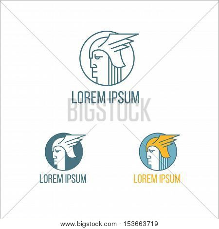 Portrait of ancient greek warrior in helmet with wings. Vector logos template on white background. Three color variants.
