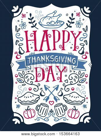 Vector Thanksgiving Illustration With Roasted Turkey, Vegetables, Leaves And Text Happy Thanksgiving