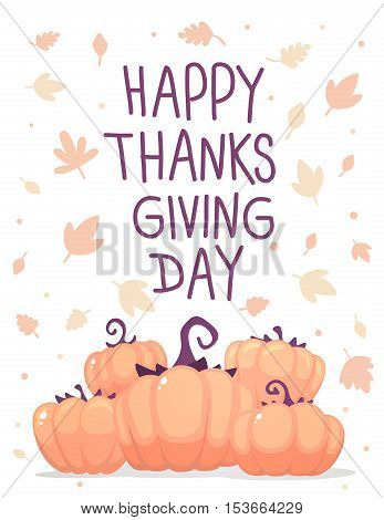 Vector Thanksgiving Illustration With Pumpkins And Text Happy Thanksgiving With Autumn Leaves On Whi