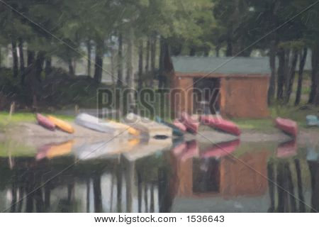 Rustic Boat House With Reflections In Lake