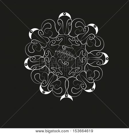 White Sun logo pattern Author abstraction design handmade sun and moon contour curls point line shaped tattoo emblem folk art background black eps10 vector illustration Stock