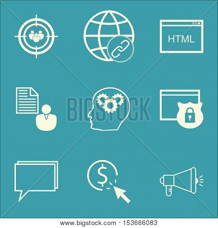 Set Of Seo Icons On Report, Brain Process And Security Topics. Editable Vector Illustration. Include
