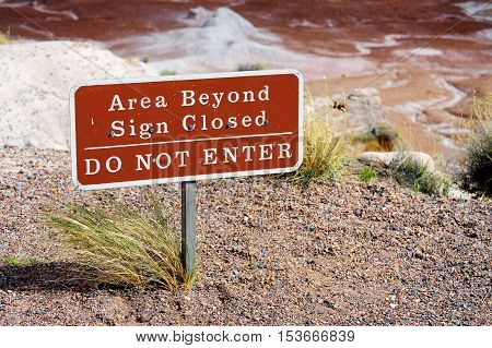 DO NOT ENTER sign in Petrified Forest National Park Arizona USA