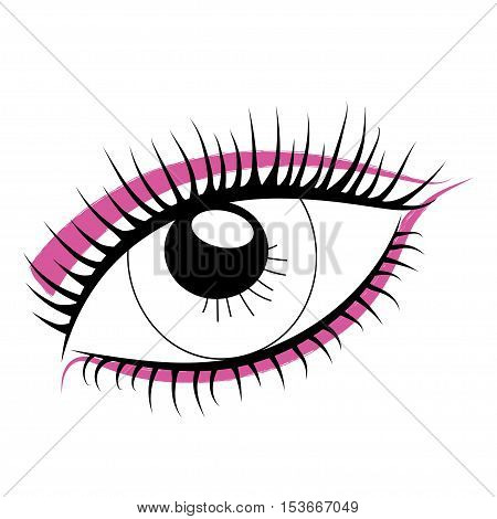Sketch of human eye on a white background. Bright makeup.