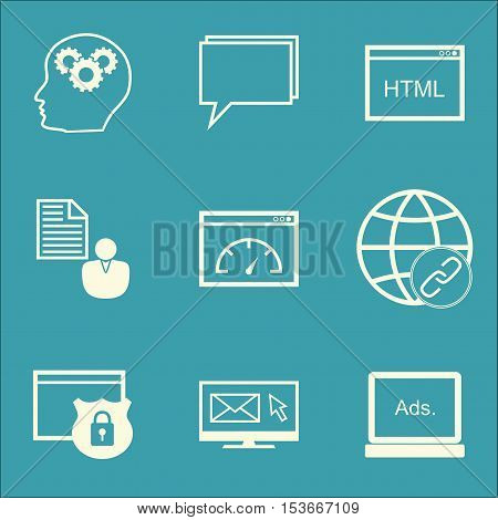 Set Of Marketing Icons On Loading Speed, Brain Process And Digital Media Topics. Editable Vector Ill