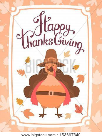 Vector Thanksgiving Illustration With Orange Turkey Bird In Brown Hat And Text Happy Thanksgiving On