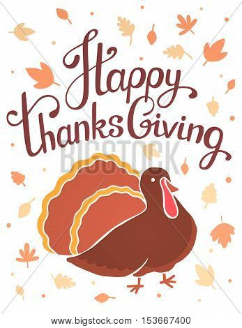 Vector Thanksgiving Illustration With Brown Turkey Bird And Text Happy Thanksgiving On White Backgro